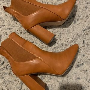 Camel faux leather booties